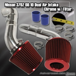 09 10 NISSAN 370Z DUAL COLD AIR INTAKE CHROME W/ FILTERS