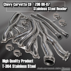05 06 CHEVY CORVETTE C6 / Z06 STAINLESS STEEL HEADER W/ X-PIPE AND CAT DELETE