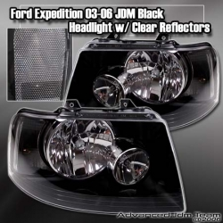 03 04 05 06 FORD EXPEDITION JDM BLACK HOUSING HEADLIGHTS W/ CLEAR REFLECTORS