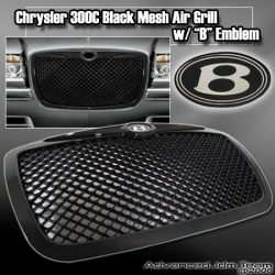 05 06 07 CHRYSLER 300C BLACK MESH AIR GRILLE GRILL W/ EMBLEM B