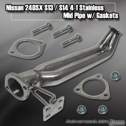 NISSAN 240SX S13 / S14 STAINLESS STEEL 4-1 MID PIPE W/ GASKETS