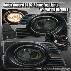 01 02 HONDA ACCORD 4DR FOG LIGHTS SMOKED LENS w/ WIRING HARNESS