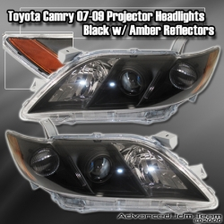 07 08 09 TOYOTA CAMRY PROJECTOR HEADLIGHTS BLACK W/ AMBER REFLECTORS