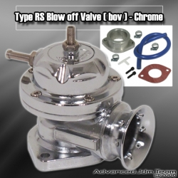 UNIVERSAL JDM Greddy TYPE RS STYLE TURBO BLOW OFF VALVE CHROME W/ CHROME LIP
