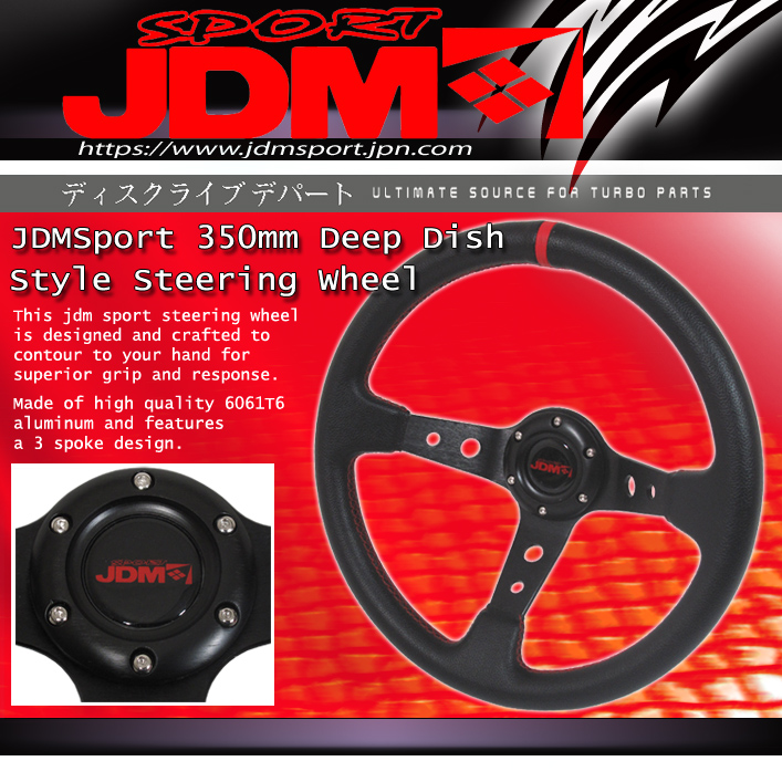 JDM Sport 350MM High Performance Leather w Red Stitching Steering Wheel