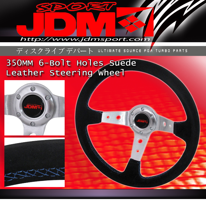 JDM Sport High Performance Steering Wheel Suede with Red Marker Line
